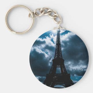 Eiffel Tower Blue Night Keychain