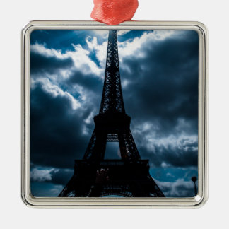 Eiffel Tower Blue Night Metal Ornament