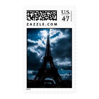 Eiffel Tower Blue Night Postage