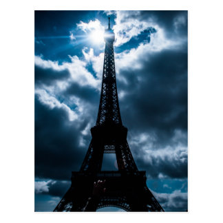 Eiffel Tower Blue Night Postcard