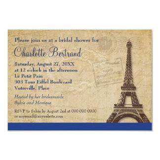 Eiffel Tower Blue Parisian Bridal Shower 3.5x5 Paper Invitation Card