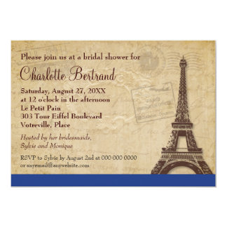 "Eiffel Tower Blue Parisian Bridal Shower 5"" X 7"" Invitation Card"
