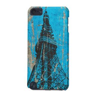 eiffel tower blue wood textures digital art iPod touch (5th generation) case