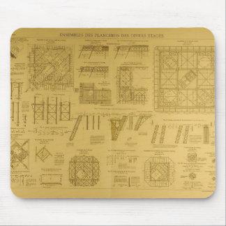 Eiffel Tower Blueprints Mouse Pad