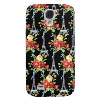 Eiffel Tower Bouquets on Black Galaxy S4 Cover