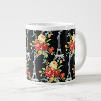 Eiffel Tower Bouquets on Black 20 Oz Large Ceramic Coffee Mug