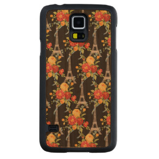 Eiffel Tower Bouquets on Black Carved® Cherry Galaxy S5 Case