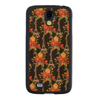 Eiffel Tower Bouquets on Black Carved® Cherry Galaxy S4 Slim Case