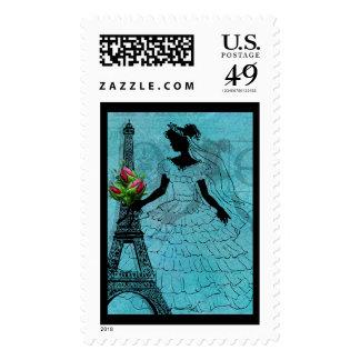 Eiffel Tower Bride Postage