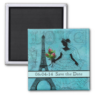 Eiffel Tower Bride Save the Date Magnet