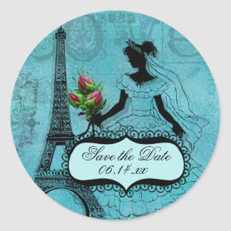 Eiffel Tower Bride Save the Date Round Stickers