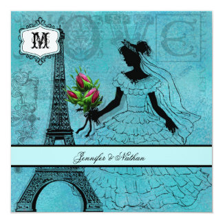 Eiffel Tower Bride Square Wedding Invitation