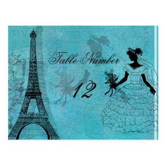 Eiffel Tower Bride Table Number Postcard