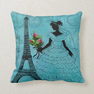 Eiffel Tower Bride Wedding Pillow