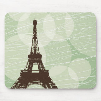 Eiffel Tower bubbles - green Mouse Pad