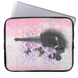 Eiffel tower & butterflies laptop sleeve