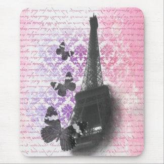 Eiffel tower & butterflies mouse pad