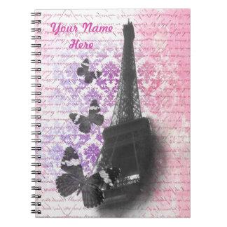 Eiffel tower & butterflies journal