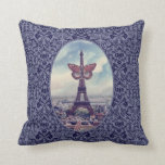 Eiffel Tower Butterfly Vintage Collage pillow
