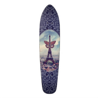 Eiffel Tower Butterfly Vintage Collage Skateboards