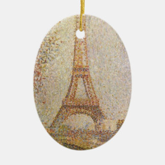 Eiffel Tower by Georges Seurat Ceramic Ornament