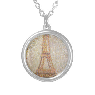 Eiffel Tower by Georges Seurat Round Pendant Necklace