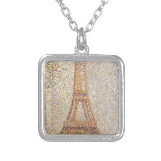 Eiffel Tower by Georges Seurat Square Pendant Necklace