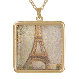 Eiffel Tower by Georges Seurat, Vintage Fine Art Gold Plated Necklace