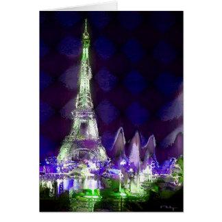 Eiffel tower by night(card) card