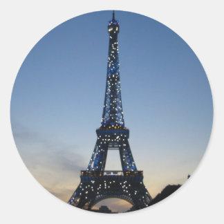 Eiffel Tower by Night Classic Round Sticker