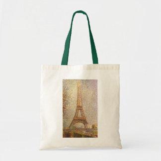 Eiffel Tower by Seurat, Vintage Pointillism Art Tote Bags