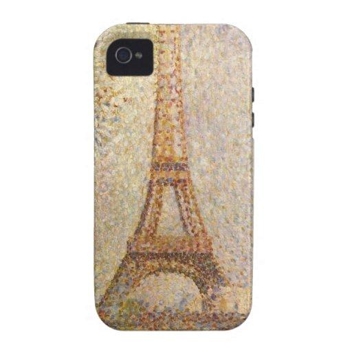 Eiffel Tower by Seurat, Vintage Pointillism Art Vibe iPhone 4 Case