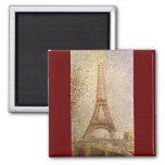 Eiffel Tower by Seurat, Vintage Pointillism Art 2 Inch Square Magnet