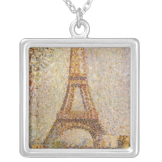 Eiffel Tower by Seurat, Vintage Pointillism Art Personalized Necklace