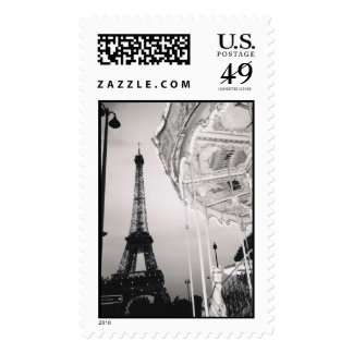 Eiffel Tower Carousel Postage Stamp
