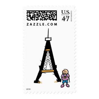 Eiffel Tower Cartoon Postage Stamp