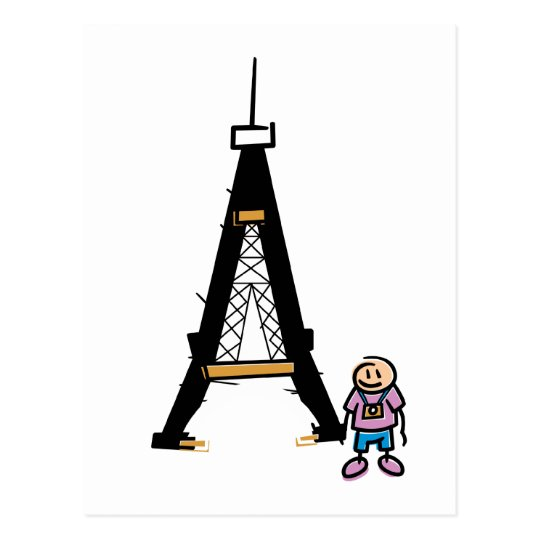 Eiffel Tower Cartoon Postcard