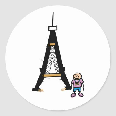 Eiffel Tower Cartoon Round Sticker by alternateworlds