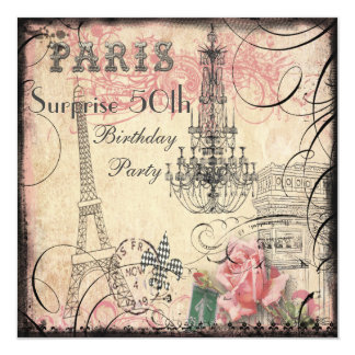 Eiffel Tower & Chandelier Surprise 50th Birthday Card