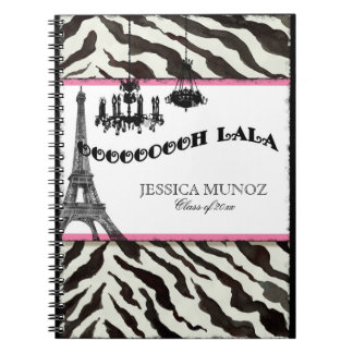 Eiffel Tower Chandelier Zebra Personalized Journal