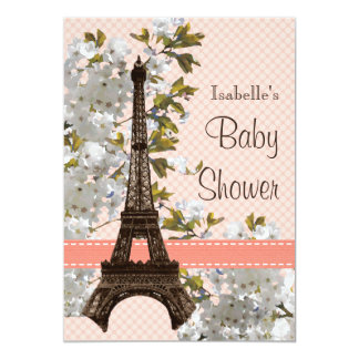 Eiffel Tower Cherry Blossom Baby Shower 5x7 Paper Invitation Card