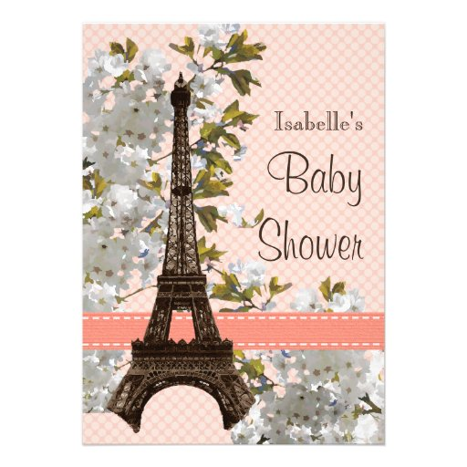 Eiffel Tower Cherry Blossom Baby Shower Personalized Invite