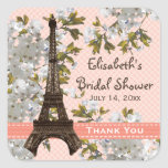 Eiffel Tower Cherry Blossom Thank You Favor Sticke Square Sticker