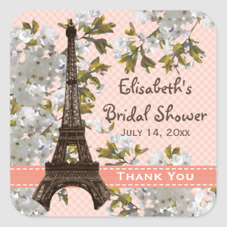 Eiffel Tower Cherry Blossom Thank You Favor Sticke Square Sticker