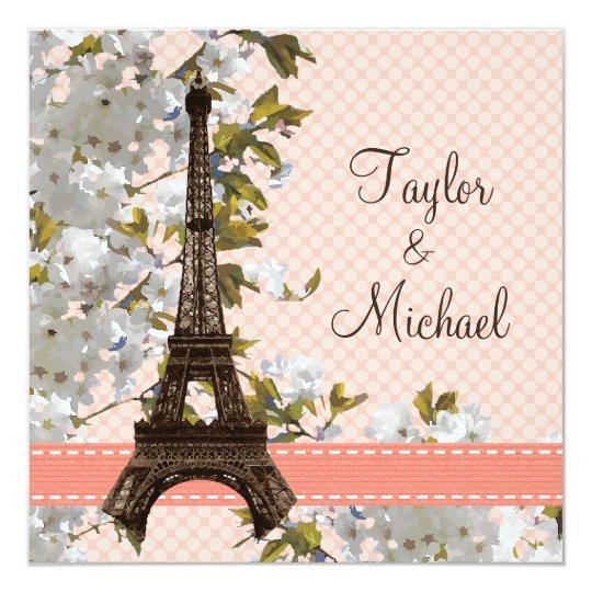 Eiffel Tower Wedding Invitations: Eiffel Tower Cherry Blossom Wedding Invitations