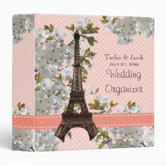 Eiffel Tower Cherry Blossom Wedding Organizer Binder