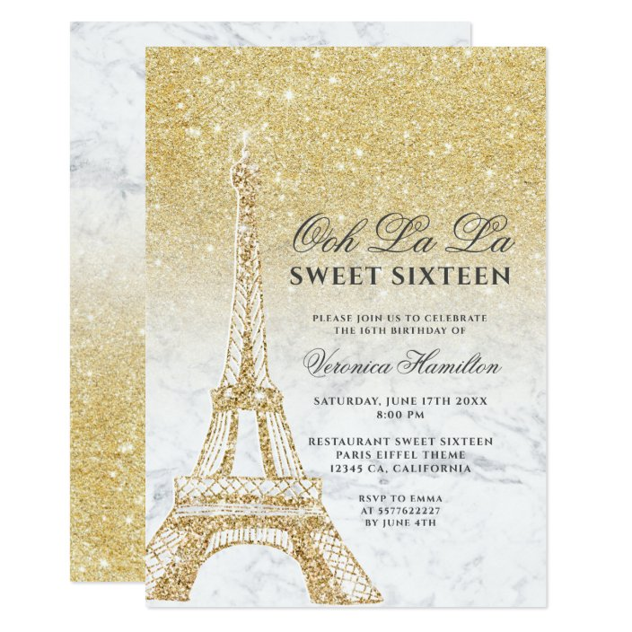 Eiffel Tower Chic Gold Glitter Marble