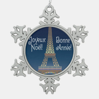 Eiffel Tower Christmas Pewter Ornament