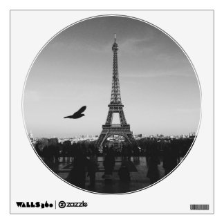 Eiffel Tower Circle Window Wall Sticker