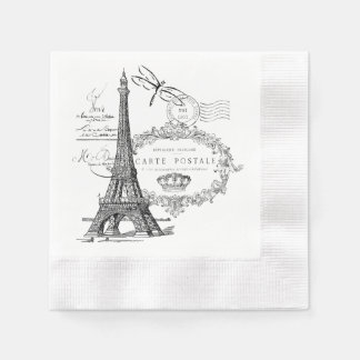 Eiffel tower collage paper napkin